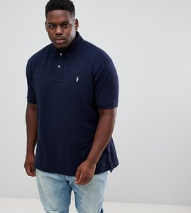 Read more about Polo ralph lauren big tall pique polo player logo in navy marl - worth navy heat
