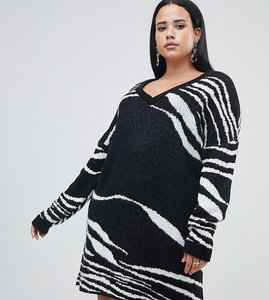 Read more about Missguided plus exclusive plus zebra stripe knitted jumper dress in black and white