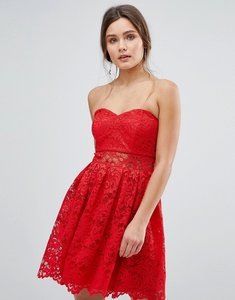 Read more about Asos bandeau mini dress in lace - bright red