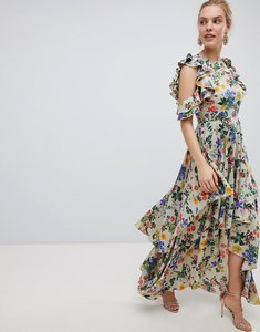 Read more about Asos design floral print satin ruffle sleeve maxi dress with dipped hem - floral print