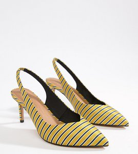 Read more about Asos design wide fit sebastian slingback mid heels - stripe
