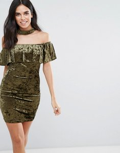 Read more about Love other things choker neck velvet midi dress with frill overlay - khaki