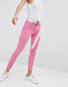 Read more about Asos design ridley high waist skinny jeans in neon pink with extra long belt - pink
