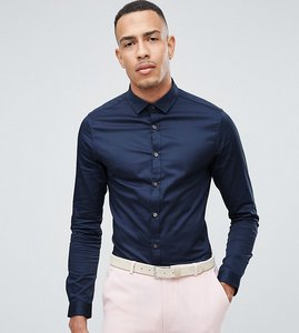 Read more about Asos tall wedding skinny fit sateen shirt in navy - navy