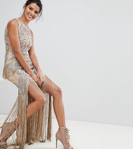 Read more about A star is born luxe all over jewel embellished maxi dress with beaded tassel hem - nude