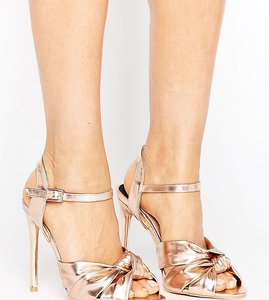 Read more about Lost ink wide fit knot dancing heeled sandals - rose gold