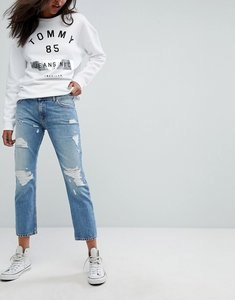 Read more about Tommy jeans lana mid rise cropped straight leg jean with rips - lightwash denim