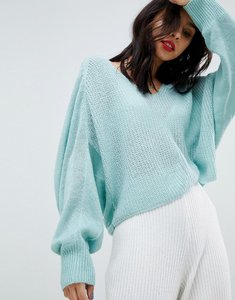 Read more about Micha lounge v-neck open knit slouch jumper - seafoam