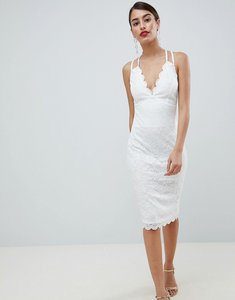 Read more about City goddess scalloped edge lace midi dress - white