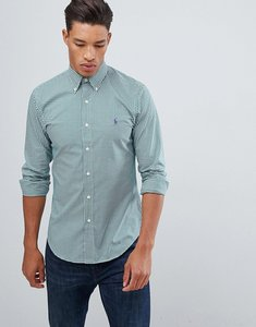 Read more about Polo ralph lauren slim fit gingham poplin shirt player logo button down in green white - evergreen w