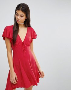 Read more about Missguided polka dot frill detail tea dress - red