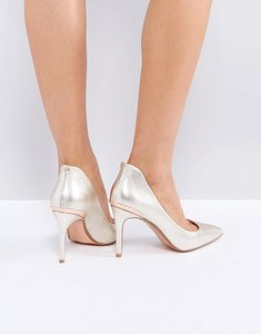 Read more about Ted baker saviy gold heeled court shoes - gold leather