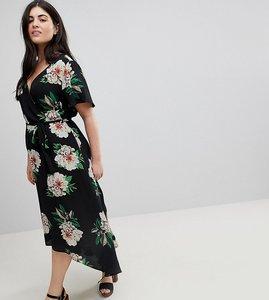 Read more about Brave soul plus lillian wrap midi dress in floral print - black