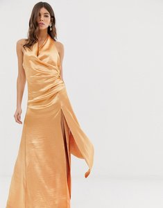 b9717090df Read more about Asos design halter maxi dress in high shine satin with drape  neck