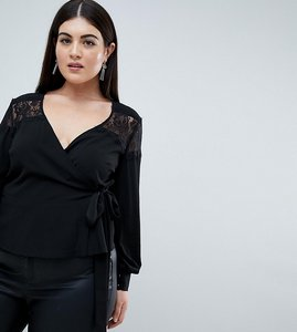 Read more about Outrageous fortune plus ruffle detail lace insert wrap blouse - black