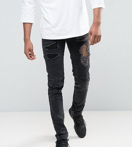 Read more about Asos tall skinny jeans with biker zip and rips details in washed black - washed black