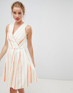 Read more about Closet london wrap front skater dress in contrast stripe - white stripe