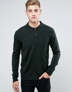Read more about French connection knitted long sleeve polo - green