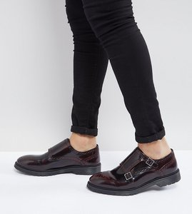 Read more about Asos wide fit monk shoes in burgundy leather - burgundy