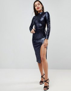 Read more about Asos high neck sequin open back midi dress - navy
