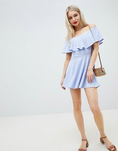 Read more about Lasula tier frill bardot dress - blue