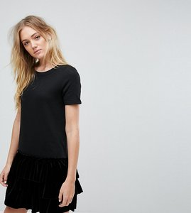 Read more about Noisy may tall jersey dress with velvet drop hem - black