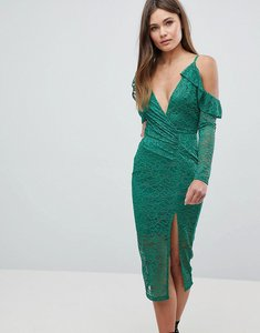 Read more about Asos cold shoulder lace plunge midi dress - green