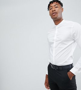 Read more about Asos design tall skinny shirt in with grandad collar - white