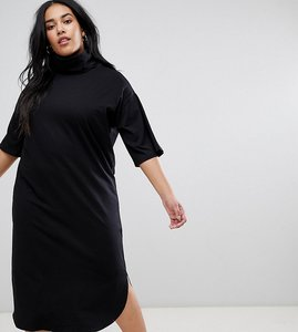 Read more about Asos design curve high neck midi swing dress with trumpet sleeves