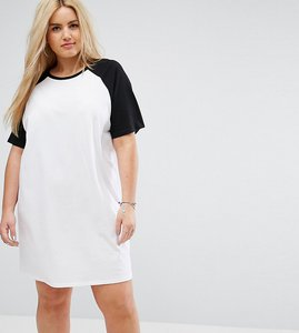 Read more about Asos curve t-shirt dress with contrast raglan sleeves - white black
