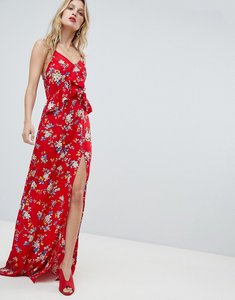 Read more about Prettylittlething floral side split maxi dress - red