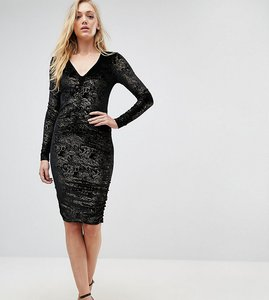 Read more about New look tall velvet foil ruched bodycon dress - black pattern