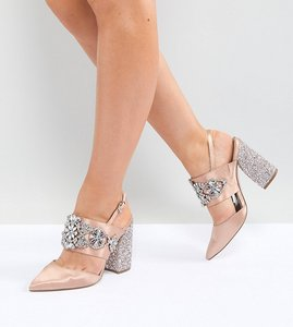 Read more about Asos perfect combo wide fit bridal embellished heels - nude