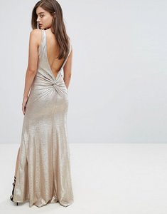 Read more about Tfnc highneck metallic maxi dress with back knot - gold