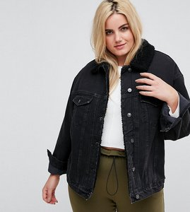 Read more about Asos curve denim borg jacket in washed black - washed black