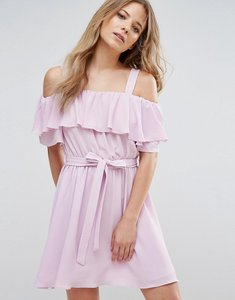 Read more about Miss selfridge tie waist ruffle dress - lilac