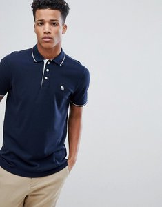 Read more about Abercrombie fitch stretch core moose logo tipped slim fit polo in navy - navy