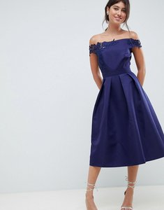 Read more about Little mistress bardot full prom midi dress with applique - navy