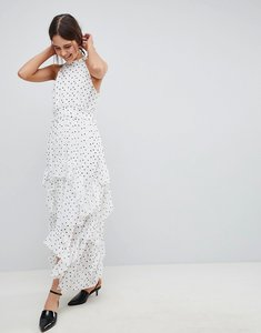 Read more about Asos design premium spot high neck ruffle maxi dress - multi