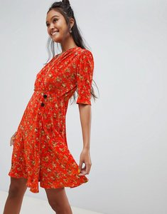Read more about Asos design ditsy print plisse mini dress with button detail - ditsy print