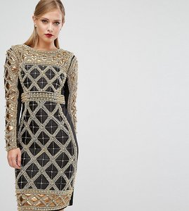 Read more about A star is born embellished midi dress with metallic quilted detail - black gold