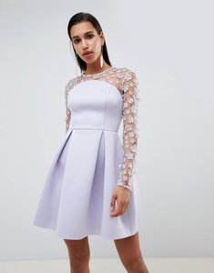 Read more about Asos design 3d floral lace bandeau scuba prom mini dress - lilac
