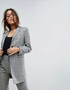 Read more about Asos tailored longline slim check double breasted blazer - check