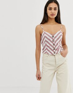 Read more about Miss selfridge cami top with button front detail in stripe - multi