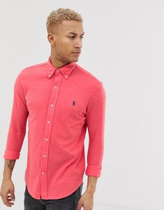 Read more about Polo ralph lauren player logo button down pique shirt slim fit in red marl