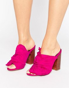 Read more about Asos twilights knotted heeled mules - pink taffeta