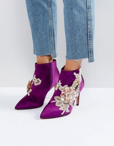 Read more about Asos elegance embellished pointed ankle boots - purple