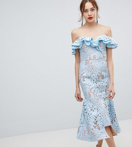 Read more about Jarlo tall frill cutwork lace off shoulder stepped hem midi dress - blue