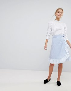 Read more about Max co ruffle wrap skirt - blue white stripe