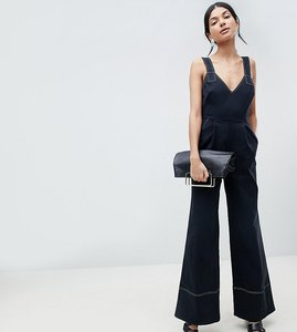 Read more about Asos design tall jumpsuit in twill with tie detail and wide leg - black